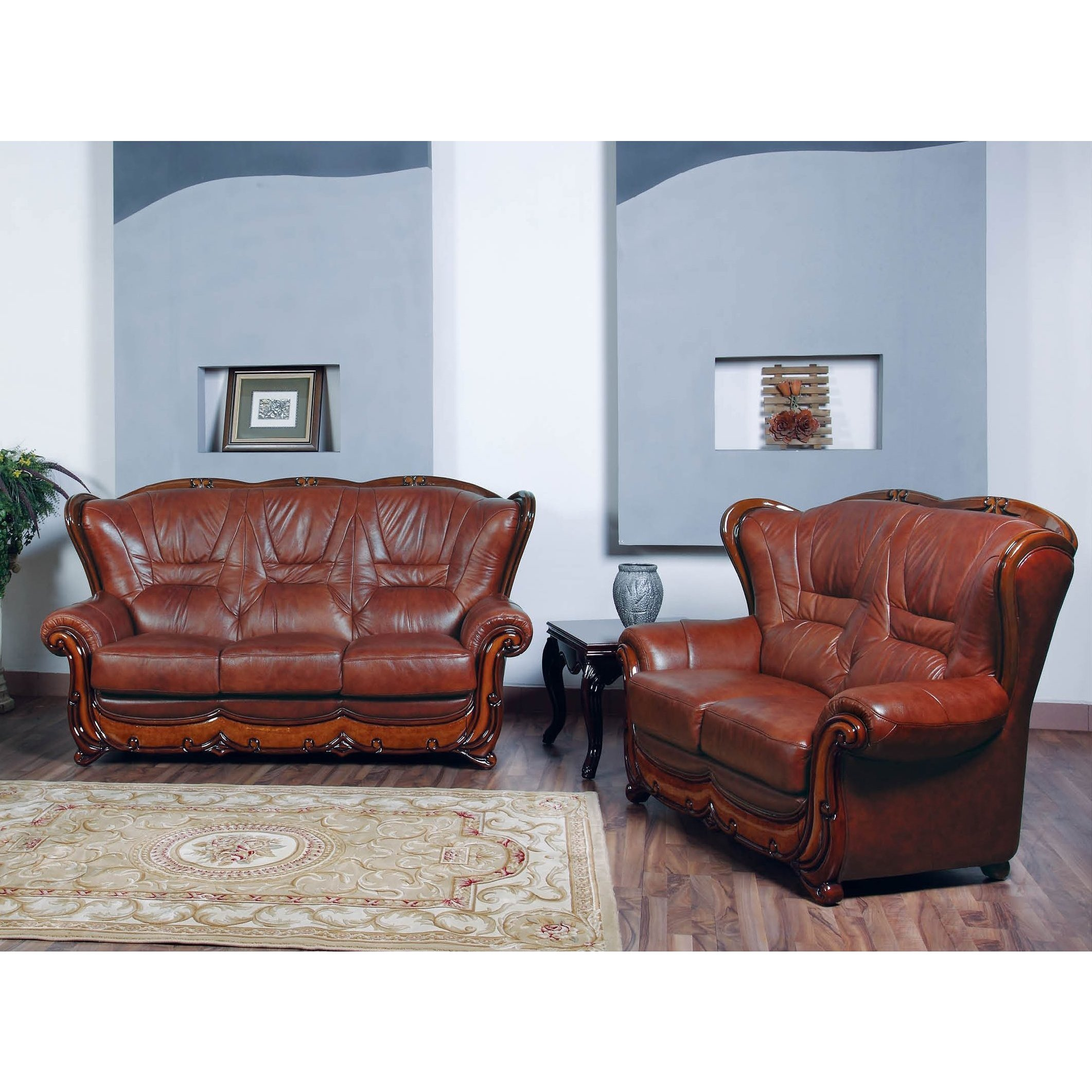 Luca Home Sofa And Loveseat Brown Combo