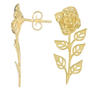 14 Karat Yellow Gold Flower 30x13mm Ear Climbers With Friction Backs