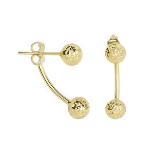 14 Karat Yellow Gold Diamond Cut 19.4x6mm Double Ball Drop Earrings With Friction Backs