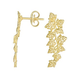 14 Karat Yellow Gold 25x11mm Leaf Ear Climbers With Friction Backs