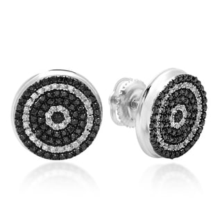 Elora Sterling Silver 1/2ct TDW Black and White Diamond Stud Earrings (I1-I2)