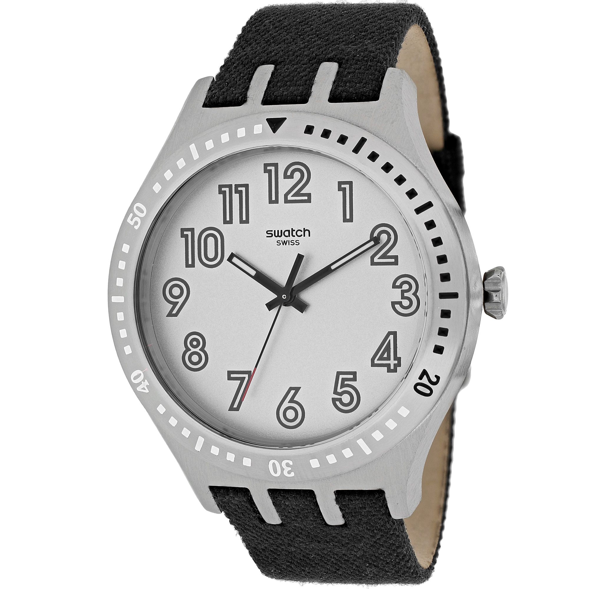 Swatch Men's YTS100 Irony Round Black Fabric Over Leather...