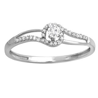 10k White Gold 1/6ct TDW Diamond Bridal Promise Ring (I-J, I2-I3)