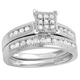 Elora Sterling Silver 1/2ct TDW Round White Diamond Engagement Bridal Wedding Band