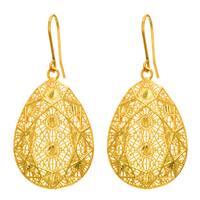 14 Karat Yellow Gold 30x20mm Pear Shaped Mesh Dangle Earrings With Fishhook Backs