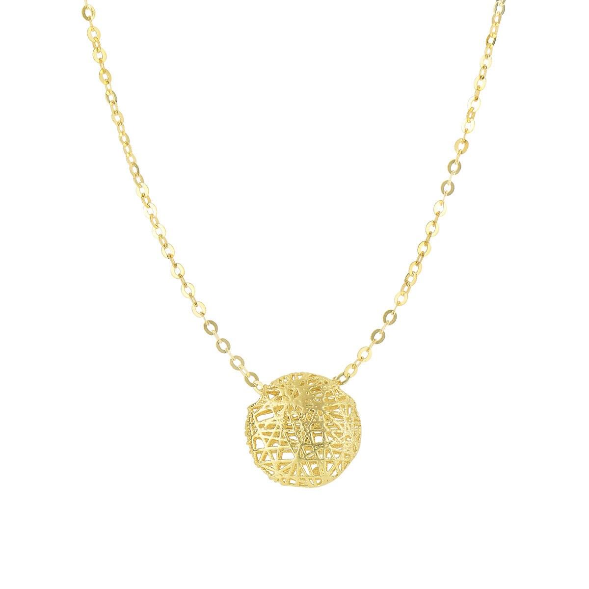 14 Karat Yellow Gold 19x19mm Mesh Ball Necklace, 17 Inche...