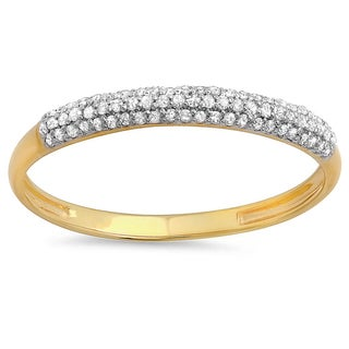 10k Gold 1/6ct TDW Diamond Pave Band Stackable Ring