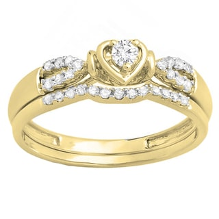 Elora 10k Gold 1/4ct TDW Round Diamond Heart Bridal Engagement Ring Matching Band Set