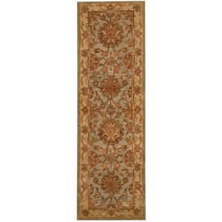 Herat Oriental Indo Hand-tufted Mahal Light Blue/ Gold Wool Runner (2'6 x 8')