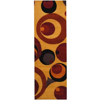 Herat Oriental Indo Hand-tufted Tibetan Gold/ Rust Wool Runner (2'6 x 8')