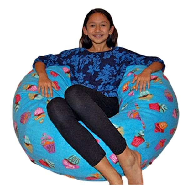 Anti Pill Blue Cupcakes Fleece Washable Bean Bag Chair
