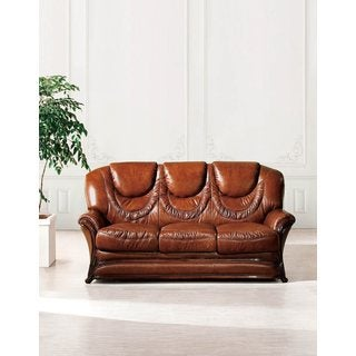 Luca Home Brown Intricate Detailed Leather Sofa Bed