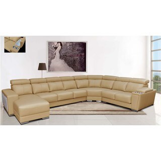 Luca Home Left Facing Beige Sectional with Ottoman
