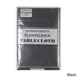 Carnation Home Fashions 70-inch Round Vinyl Tablecloth (Option: Black)