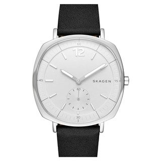 Skagen Women's SKW2403 Rungsted White Dial Black Leather Watch