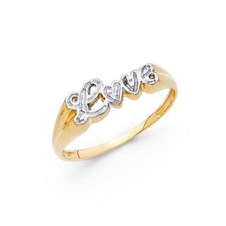 14k Two-tone Gold 'Love' Script Flat-top Ring