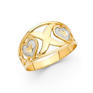 14k Two-tone Gold Fancy Heart 'XO' Right Hand Ring