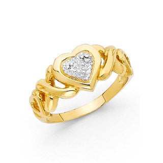 14k Two-tone Gold Diamond-cut Heart 'XO' Ring