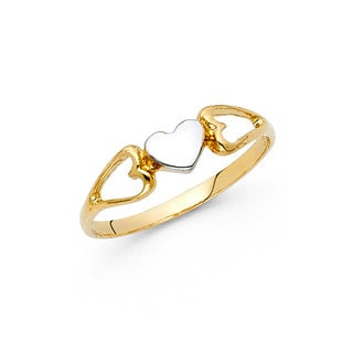 14k Two-tone Gold Flat Triple-Heart Ring