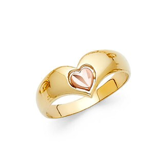 14k Two-tone Gold Heart Chevron Ring