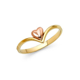 14k Two-tone Gold Chevron Floating Heart Ring