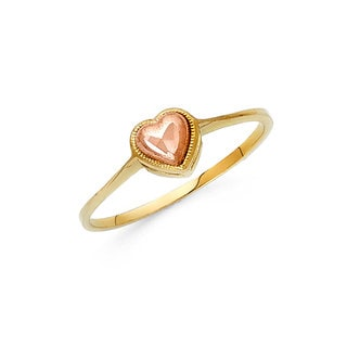 14k Two-tone Gold Layered Heart Ring