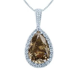 18k White Gold 13 1/5ct TDW Fancy Brown and White Diamond Pear Halo Pendant (G-H, VS2-VS1)