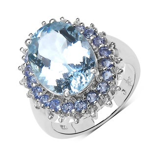 Malaika Sterling Silver 5 1/3ct TGW Aquamarine, Tanzanite and White Topaz Ring