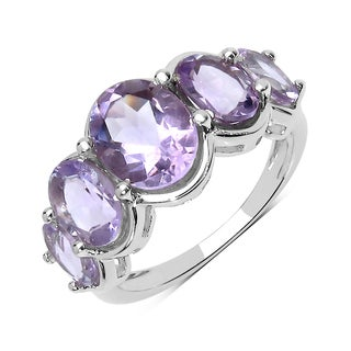 Olivia Leone Sterling Silver 4 1/10ct TGW Pink Amethyst Ring