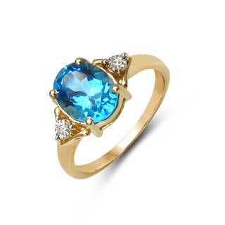 Malaika Yellow Goldplated Silver 2 1/4Ct Tgw Blue Topaz And Diamond Accent Ring