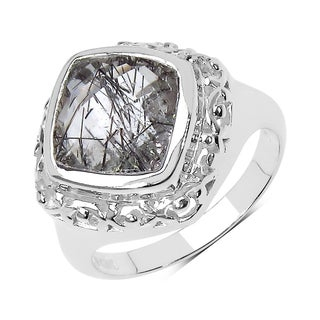 Olivia Leone Sterling Silver 3 2/5ct TGW Black Rutile Ring