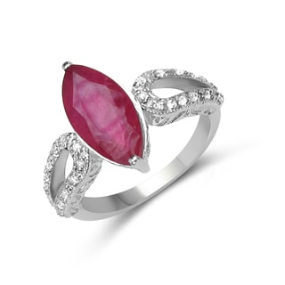 Malaika Sterling Silver 5 1/8ct TGW Ruby and White Topaz Ring
