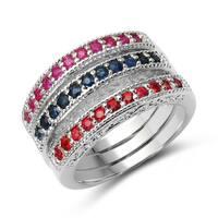 Olivia Leone Sterling Silver 1 1/4ct TGW Multi-colored Sapphire Ring