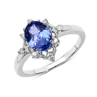 Malaika 10k White Gold 1 1/4ct TGW Tanzanite and Diamond Accent Ring - Blue