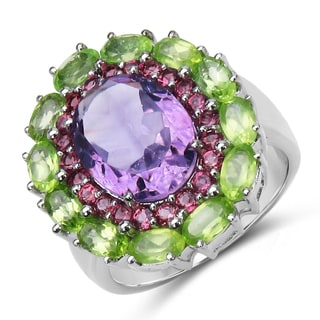 Olivia Leone Sterling Silver 8 4/5ct TGW Amethyst, Rhodolite and Peridot Ring