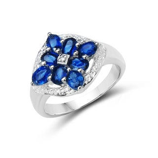 Malaika Sterling Silver 1 4/5ct TGW Kyanite and Diamond Accent Ring