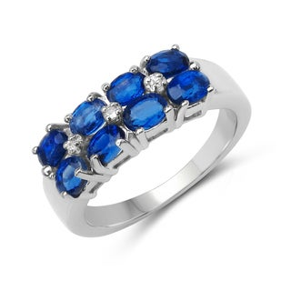 Malaika Sterling Silver 1 4/5ct TGW Kyanite and White Topaz Ring