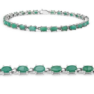 Malaika Sterling Silver 5ct TGW Emerald Bracelet