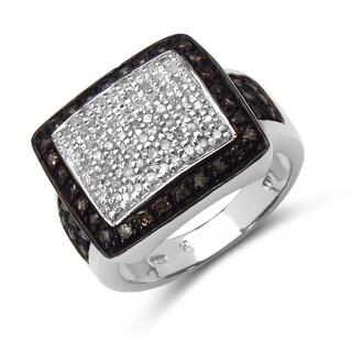 Malaika Sterling Silver 5/8ct TDW Brown Diamond Ring