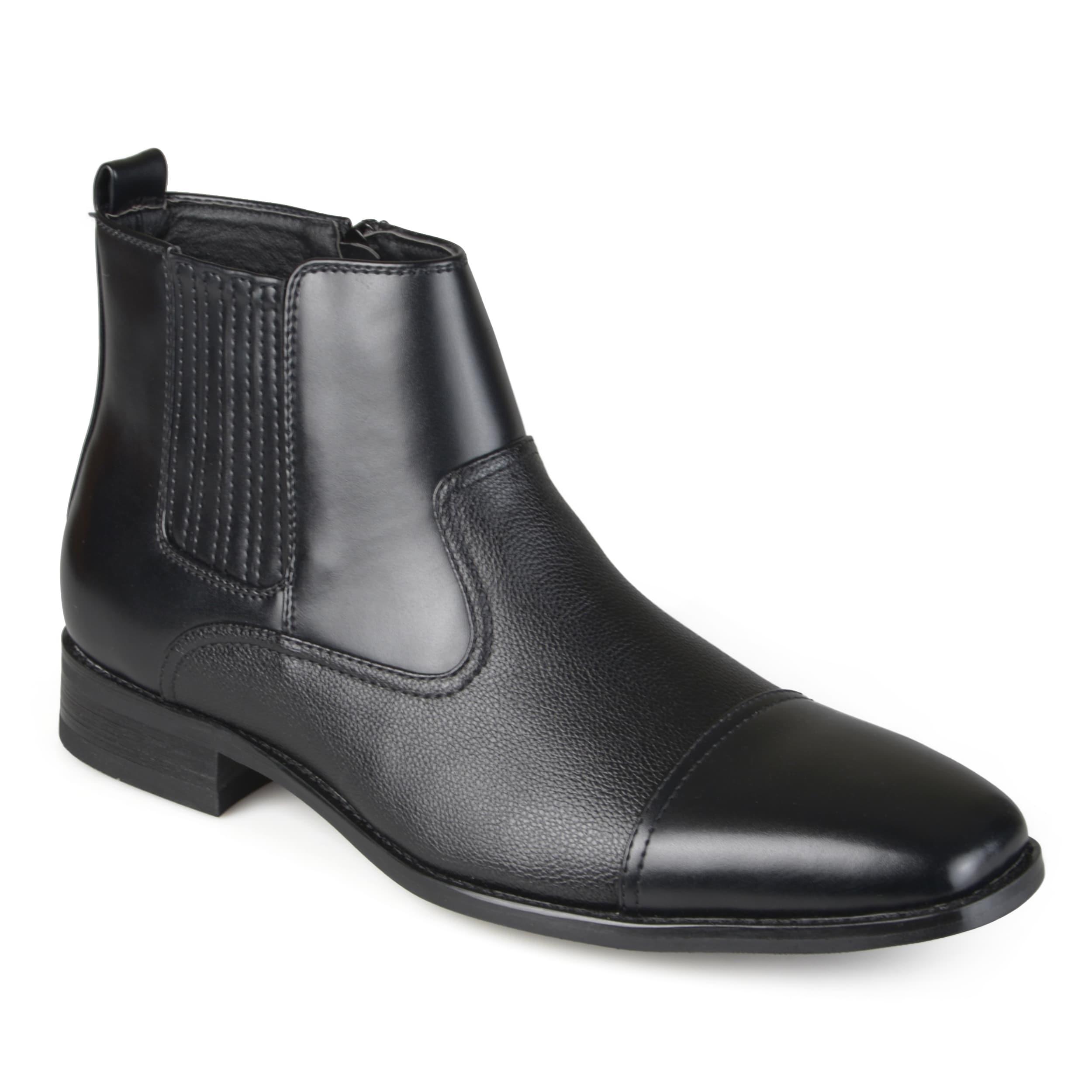 Faux Leather Cap Toe Dress Boots