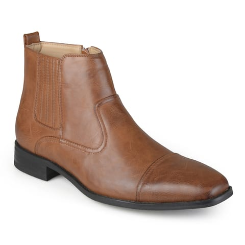Vance Co. Men's Faux Leather Cap Toe Dress Boots