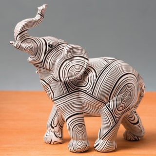 Standing Elephant With Geometric Spiral Swirl Design Accent Piece