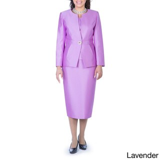 Giovanna Collection Women's Rhinestone Buckle 3-piece Skirt Suit