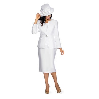 Giovanna Collection Women's Rhinestone Buckle 3-piece Skirt Suit