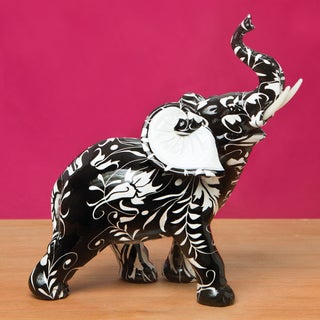 Black and White Elephant Flourish Accent Piece