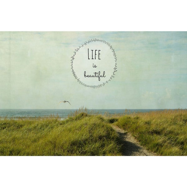 Marmont Hill - 'Life is Beautiful 2 Text' by Robert Dickinson Painting Print on Canvas