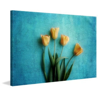 Marmont Hill - 'Yellow Tulips' by Sylvia Cook Painting Print on Canvas
