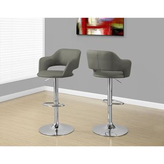 Light Grey and Chrome Metal Hydraulic Lift Stool