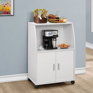 White 33-inch Kitchen Cart with Castors