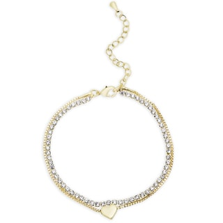 Dolce Giavonna Gold or Silvertone Cubic Zirconia Heart Design Bracelet